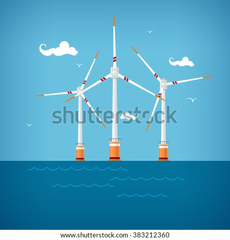 Wind Turbines in the Sea, Horizontal Axis Wind Turbines in the Sea  off the Coast , Offshore Wind Farm, Vector Illustration - stock vector