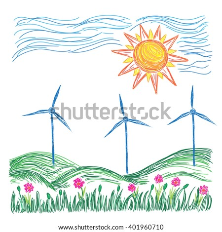 Wind turbines landscape illustration, sketch - stock vector