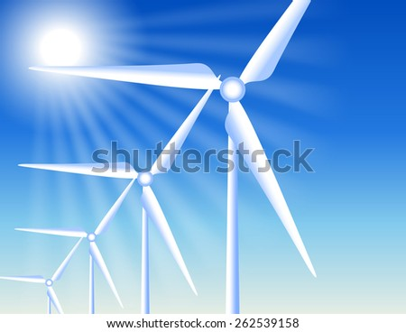 Wind turbines on the clear sky background and sun rays - stock vector