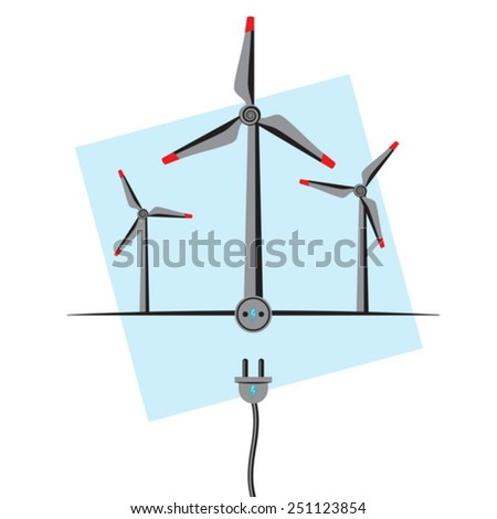 Wind Turbines with plug-in socket and wire. Wind Energy concept - stock vector