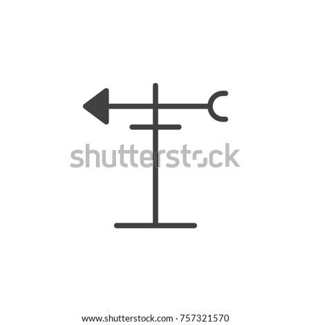 Wind Vane Icon Vector Filled Flat Stock Vector 757321570 Shutterstock
