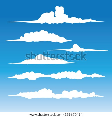 Windblown clouds vector - Collection of stylized cloud silhouettes, great for clipart or icon creation - stock vector