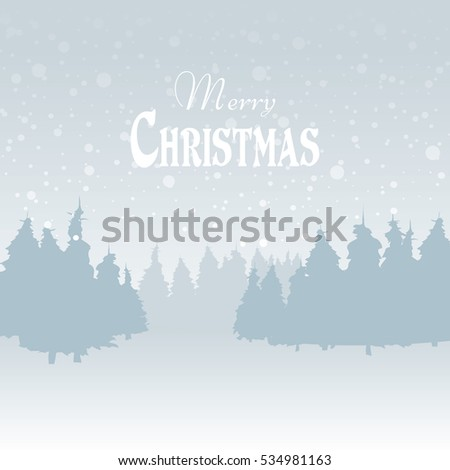Winder snowy landscape with trees, vector illustration. Background.