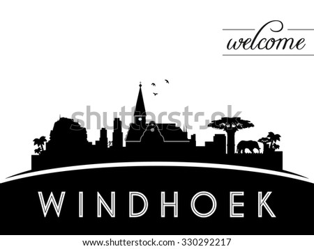 Windhoek skyline silhouette, black and white design, vector illustration