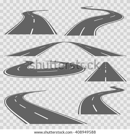 Winding curved road or highway with markings. Direction road, curve road, highway road, road transportation illustration. Vector set - stock vector