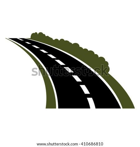 Winding paved road icon with green grassy roadside and curly bushes - stock vector