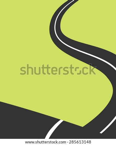 Winding road - stock vector