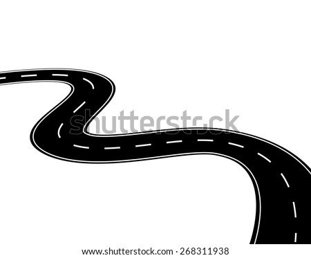 Winding road  or highway isolated on white background,  vector  - stock vector