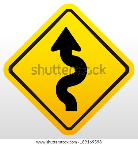 Winding Road Sign  - stock vector