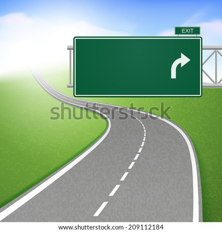 winding road with road sign over bright background - stock vector