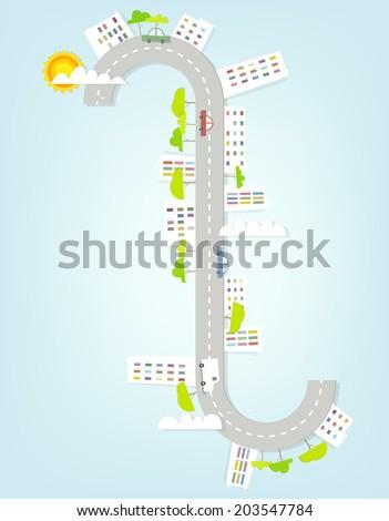 winding street - stock vector