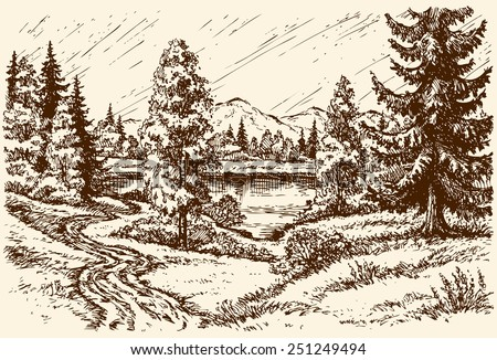 Winding track near grove on hill leading to rivulet in cloudy spring day. Vector monochrome freehand sketchy linear ink drawn background in vintage hatch engraving style, space for text on rainy sky - stock vector