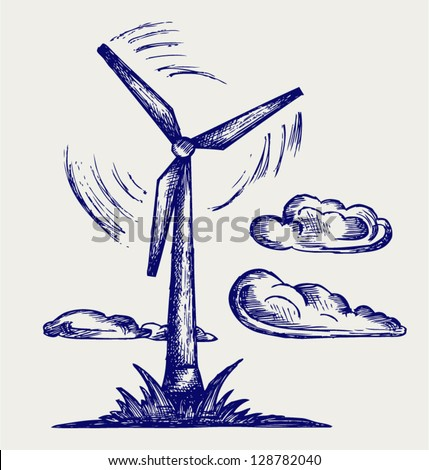 Windmill and clouds. Doodle style - stock vector