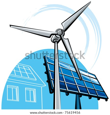 windmill and solar panel - stock vector