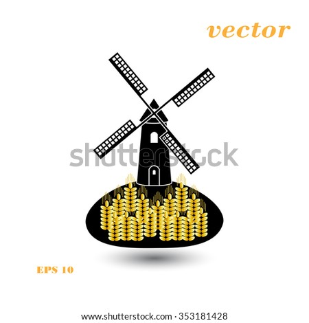 Windmill and wheat ears. Mill symbol. Agriculture landscape. Vector illustration in flat style. - stock vector