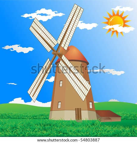 Windmill at a summer day vector - stock vector