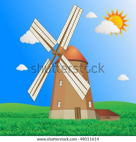 Windmill at daylight vector - stock vector