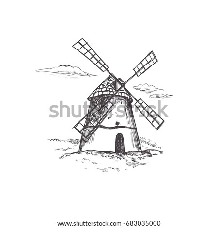 farm windmill drawing. windmill. bakery concept. farm landscape. vector hand drawn illustration for packaging design. windmill drawing
