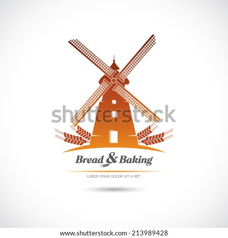 Windmill. Bread and pastries. Label. - stock vector