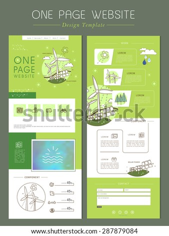 windmill concept one page website design template in flat line style - stock vector