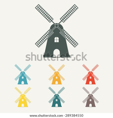 Windmill icon or sign. Mill symbol in flat style. Colorful vector illustration. - stock vector