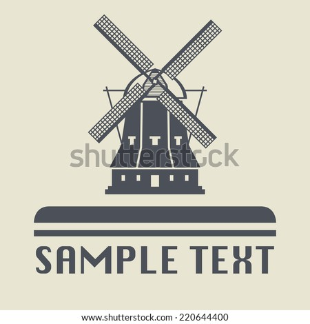 Windmill icon or sign, vector illustration - stock vector