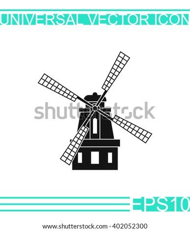 Windmill icon vector. Windmill icon illustration. Windmill icon web. Windmill icon Eps10. Windmill icon image. Windmill icon logo. Windmill icon sign. Windmill icon art. Windmill icon flat. Mill icon. - stock vector