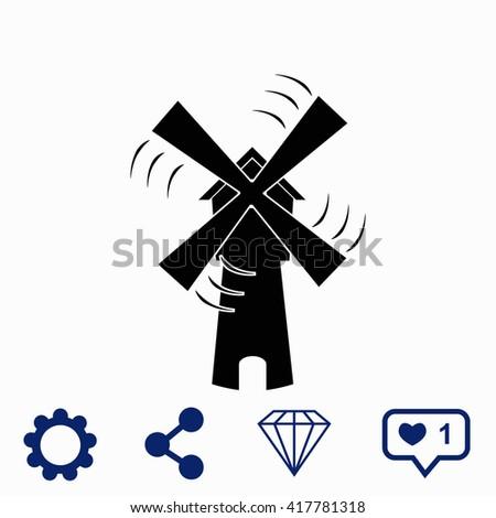 Windmill icon. Windmill icon vector. Windmill icon illustration. Windmill icon web. Windmill icon Eps10. Windmill icon image. Windmill icon logo. Windmill icon sign. Windmill icon art. - stock vector