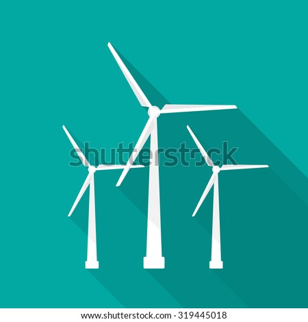 Windmill icon with long shadow. Flat design style. - stock vector