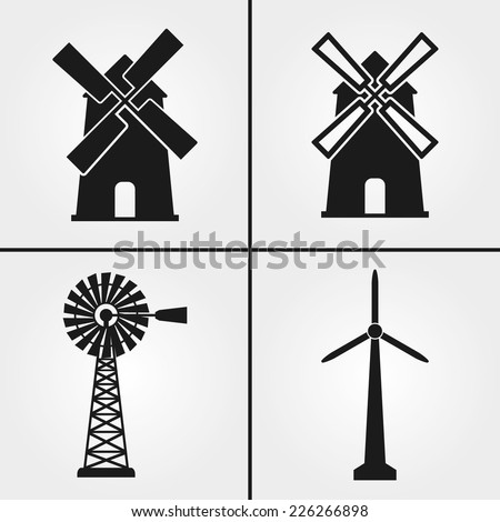Windmill Icons - stock vector