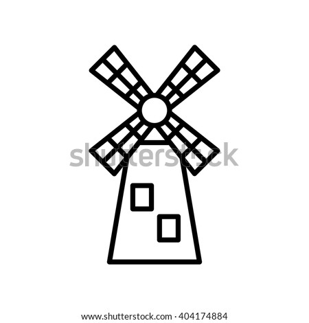 Windmill line icon, Vector illustration. EPS 10. mill icon,mill isolate,mill isolate icon,mill icon vector,windmill icon,windmill icon vector,windmill isolate,windmill isolate icon vector - stock vector