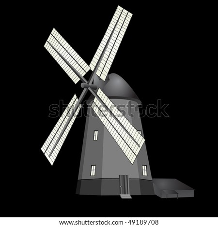 Windmill on black and white vector - stock vector