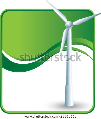 windmill on green wave background - stock vector