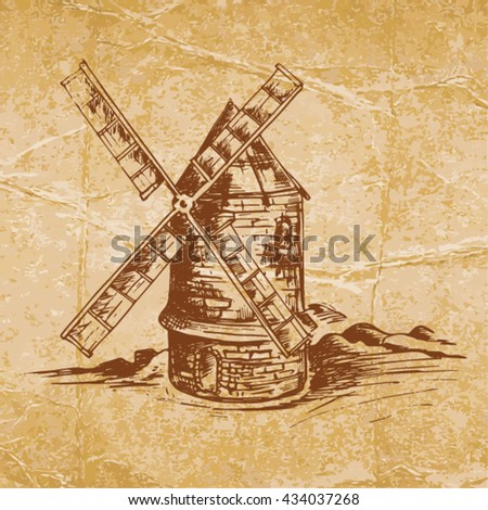 Windmill on old crumpled paper - stock vector