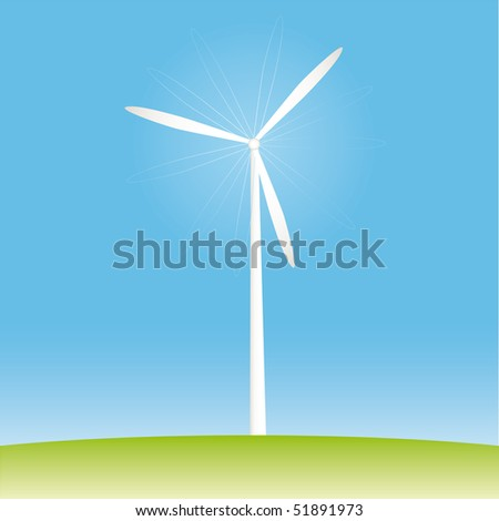 Windmill on the field vector illustration cartoon - stock vector