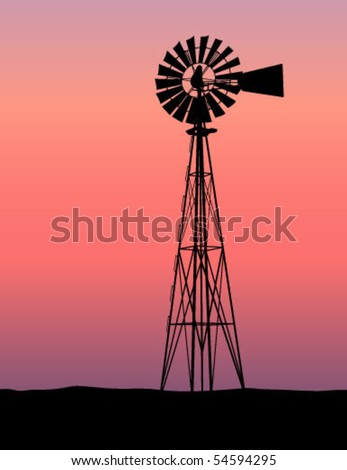 Windmill Silhouette Sunset - stock vector