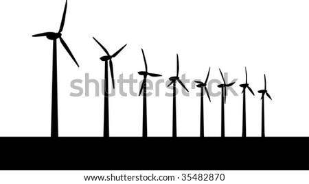 Windmill vector - stock vector