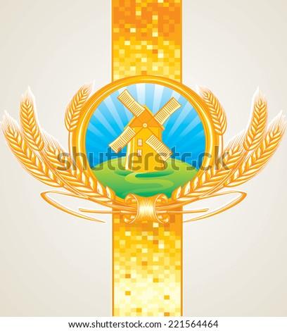 windmill & wheat - golden emblem - stock vector