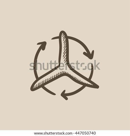 Windmill with arrows vector sketch icon isolated on background. Hand drawn Windmill with arrows icon. Windmill with arrows sketch icon for infographic, website or app. - stock vector