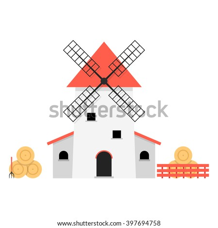 windmill with haystacks. concept of ranch, shack, valley, farmland, hay pitchfork, product, agricultural, fence, rural economy. flat style trend modern design vector illustration on white background - stock vector
