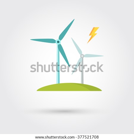 Windmills for electric power production - stock vector