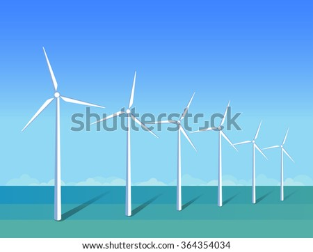 Windmills in a sea on background blue sky. Ecology environmental illustration for presentations, websites, infographics. Flat vector