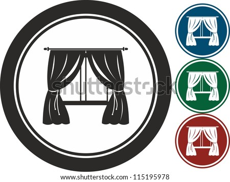 Window and curtain, vector, icon - stock vector