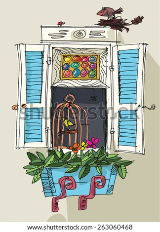 window and flowerbox- cartoon - stock vector