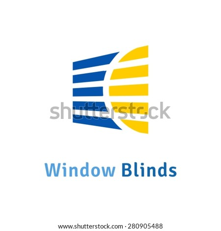 Window blinds icon logo - stock vector