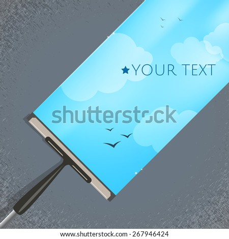 Window cleaning background. Cleansing the windows of dirt. - stock vector