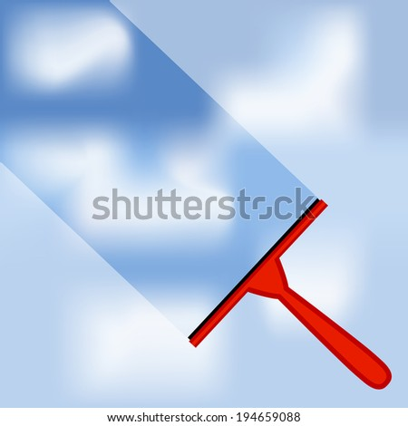 Window cleaning background with blue sky and white clouds  - stock vector