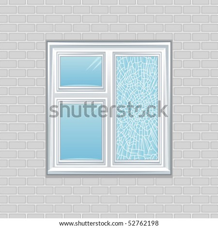 Window crack - stock vector