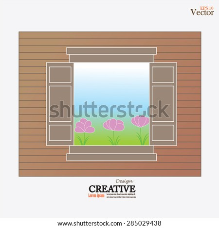 window designs with flower and view  on a wood wall background.vector illustration.