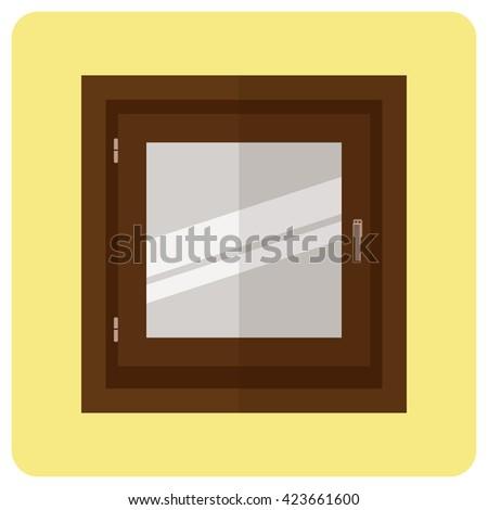 Window,flat icon-closed window - stock vector